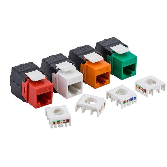 Gigabit RJ45 CAT6 Keystone Jacks Modules Tool-free Connection - Orange/Red/Green/White 4 Colors For Optional