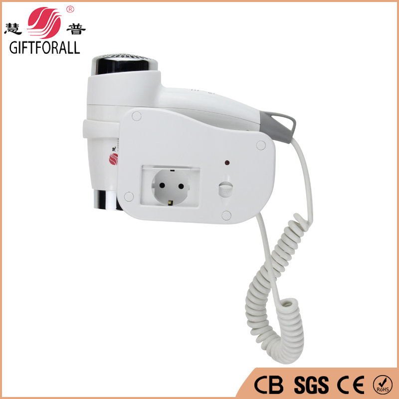 GIFTFORALL Professional Wall Mounted Hair Dryer Hotels Blow Dryer Hair Clipper 1200W White Bathroom Salon Equipment 1808-6-P modun m 1288a 1200w wall mounted electric hair dryer white 2 flat pin plug