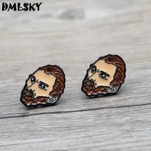 DMLSKY Van Gogh Cool Jewelry Cartoon Stud Earring Enamel Earrings Pendant for Kids Girls Cute Accessories M3249