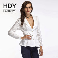 HDY Haoduoyi White Blazers Women Long Sleeve Deep V Neck Slim Waist Stretch Coats Office Laides
