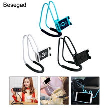 Besegad Pendure Neck Celular Tablet Pad Holder Suporte Bracket w/Rotating Gooseneck Mount para iPhone Samsung Nota Galáxia Huawei(China)