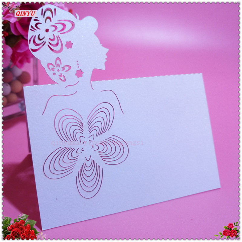2018 popular wedding table decoration Laser Cut card pretty girl 50pcs Pearlscent Paper Cards Table Decoration Place Cards 6z