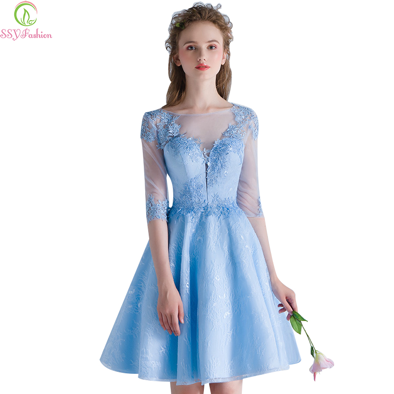 Short Formal Dresses with Sleeves That Are Blue