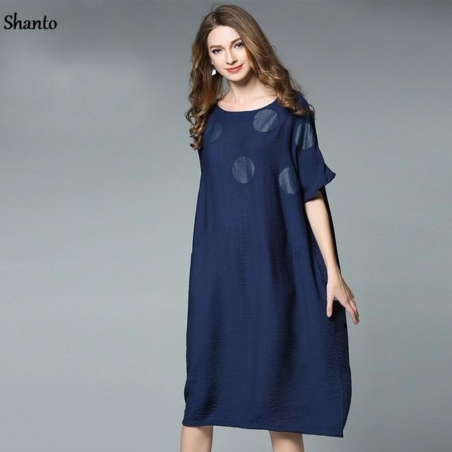 Women Retro Loose Casual Summer Dress Ladies Plus Size Dress Female
