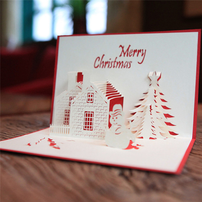 Christmas Greeting Cards Handmade.Us 0 7 36 Off 3d Pop Up Greeting Card Handmade Happy Birthday Merry Christmas Card Gifts L4 In Cards Invitations From Home Garden On