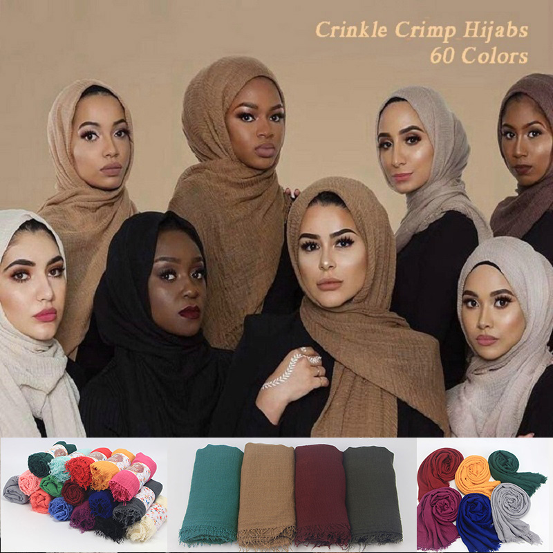 Supply New Arrival Classical Premium Viscose Maxi Crinkle Cloud Hijab Scarf Shawl Soft Islam Muslim Scarves Summer Sunscreen Girl Scarf Apparel Accessories