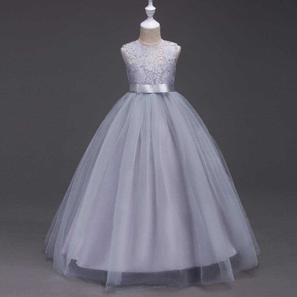 Вечернее платье для свадьбы, для детей от 4 до 11 лет, детское кружевное бежевое белое платье с цветочным узором для девочек фиолетовое, серое ...