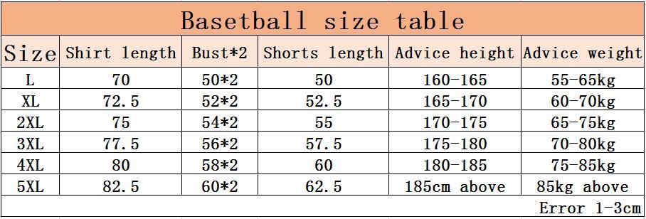 篮球服尺码表