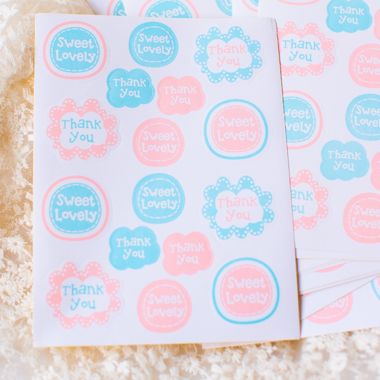 [4Y4A] 5set DIY stickers sweet lovely Powder blue flowers sealed stickers