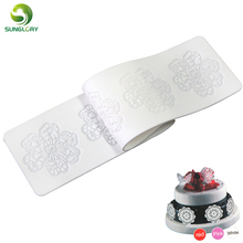 Free Shipping 1PC Rectangle Flower 100% Foodgrade Silicone Baking Mat Cake Sugar Lace Mold Decorating