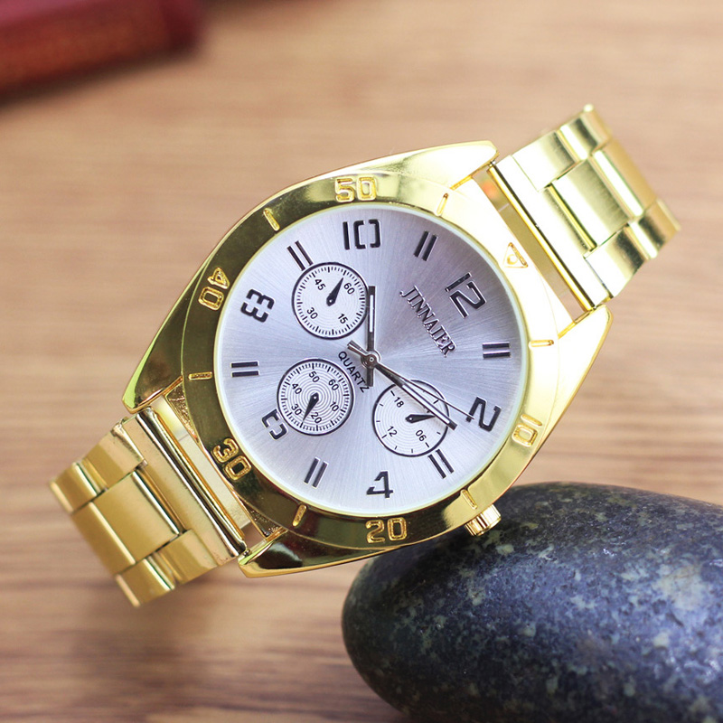US $7 56 11% OFF|Aliexpress com : Buy JINNAIER famous brand old men fashion  analog stainless steel gold electronic wristwatches gentlemen business
