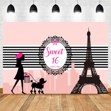NeoBack Pink Eiffel Tower 16th Birthday Party BackdropsParis Sweet Girls Banner Photography Background