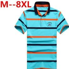 9XL 8XL 7XL 6XL 2017 NEW summer men business fashion men's casual Korean Slim stripes short-sleeved polo shirt male British TEES