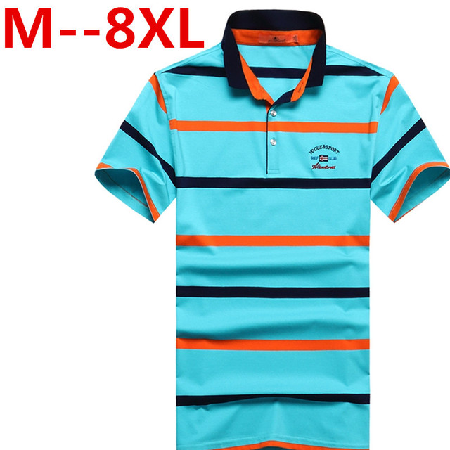 9XL 8XL 7XL 6XL 2017 NEW summer men business fashion men's casual Korean Slim stripes short-sleeved polo shirt male British TEES