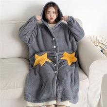 Autumn Winter Women Long Sleeve Nightgown Hooded Flannel Nightgowns Girls Night Dress Sleepwear Cute Princess Coral Fleece WZ619
