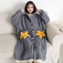 Outono inverno feminino manga comprida camisola com capuz flanela camisas meninas noite vestido sleepwear bonito princesa coral velo wz619