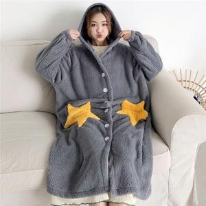 Image 1 - Robe de nuit femme, vêtements de nuit à manches longues, avec capuche en flanelle, vêtements de nuit princesse mignonne, en molleton, WZ619