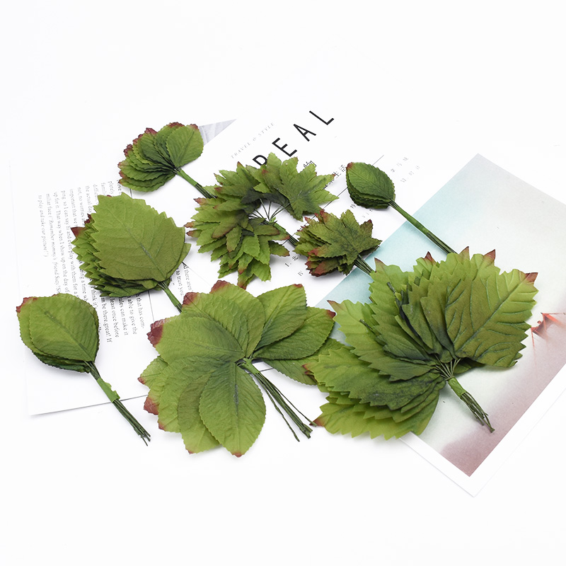 36pcs Artificial Plants Silk Maple Leaf  Home Decoration Accessories Scrapbooking Decorative Wreaths Diy Gifts Box Fake Leaves