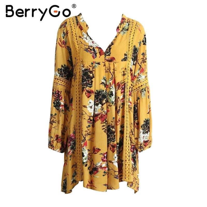BerryGo Hollow out boho summer dress Women vintage loose lace lantern sleeve short dress Ruffle flower print sexy dress vestidos 5
