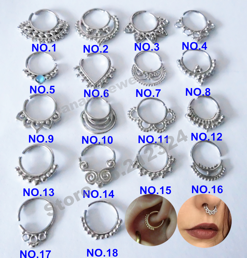 New Stuff Silver Tribal Design Real Septum Rings Cartilage Earring Earrings Hoops Daith Piercing Tragus 1set In Hoop From Jewelry