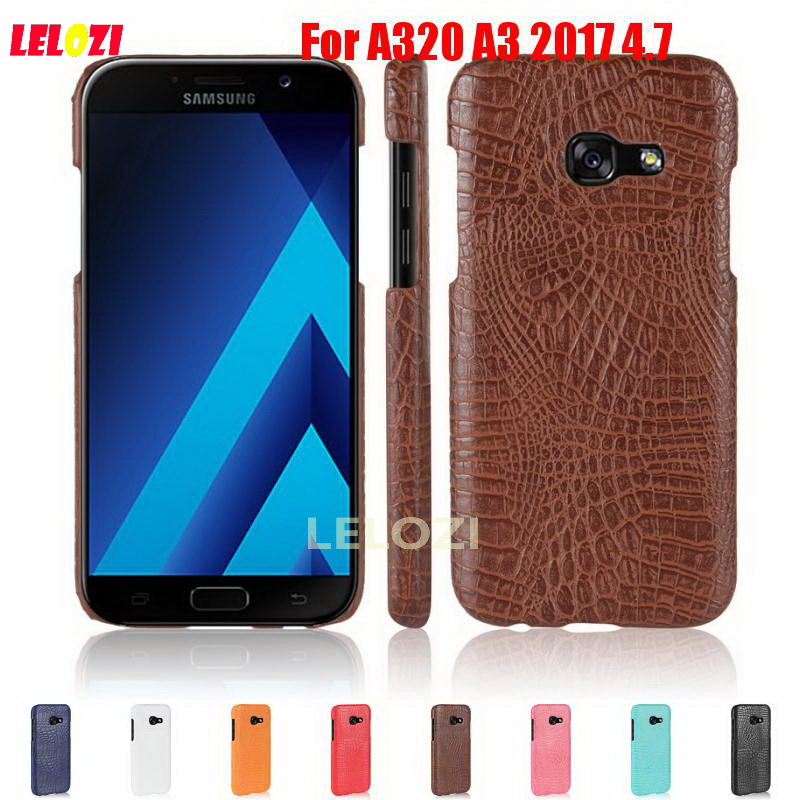 LELOZI Crocodile Snake Pattern Hard PC PU Leather Phone Etui Coque Case fundas For Samsung Galaxy A320 A3 2017 4.7 SM-A320F/DS