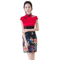 New Designer Slim Chinese Traditional Summer Dress Sexy Women Mini Cheongsam Female Vintage Elegant Short Qipao S M L XL XXL
