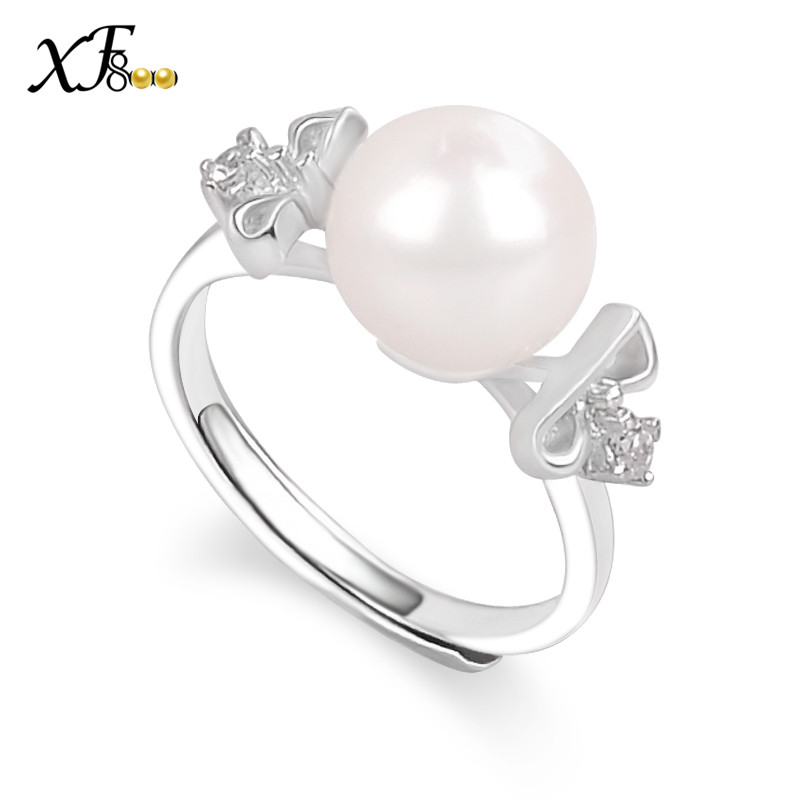 e1f81e71c9d3 Xf800 natural de agua dulce perla anillo 8-9mm forma perfectamente redonda perla  Joyería fina del partido del regalo de boda para el amante j107