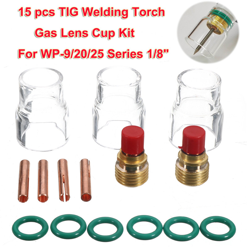 15pcs TIG Welding Torch Gas Lens Kit 12 Cup for WP-9/20/25 Series 1/8 Freeshipping Welding Equipment Gas Lens Cup Collets 18 pk tig torch large gas lens wp 9 20 25 wp tungsten 0 04 1 16 3 32