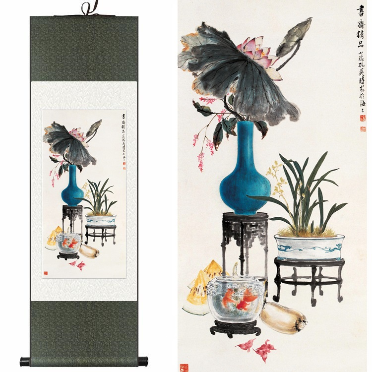 Chinese Silk watercolor ink still life peony rose bonsai flower arranging art canvas wall picture damask framed scroll painting