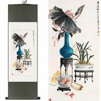 Seta cinese acquerello ink still life peonia rosa bonsai disporre i fiori di arte della tela di canapa immagine della parete del damasco con cornice scroll pittura