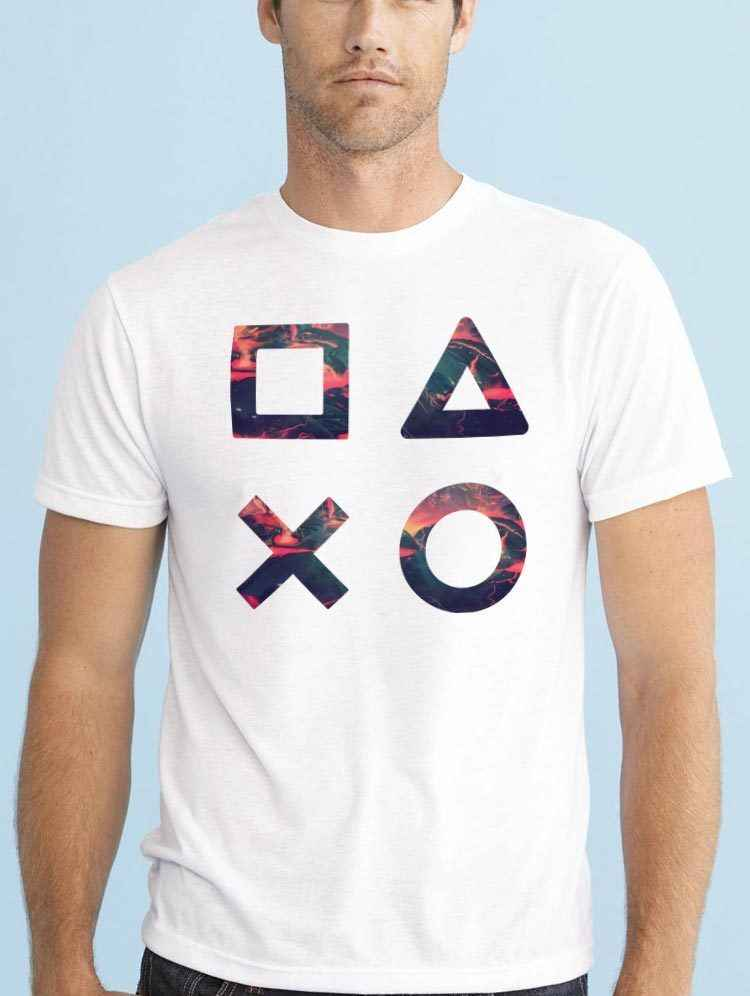 MINIMAL GEOMETRIC SHAPES GAMER PLAYSTATION T SHIRT Summer Men'S fashion Tee,Comfortable t shirt,Casual Short Sleeve TEE