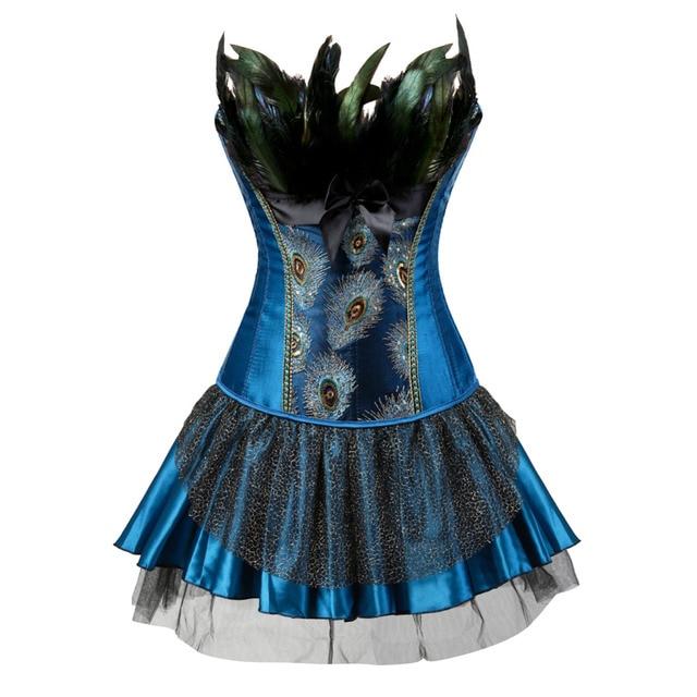 9e8188feceb Embroidery Peacock Princess corset showgirl dance tutu skirt Cosplay  Feathers Bustier bodyshaper suit Plus Size S-6XL