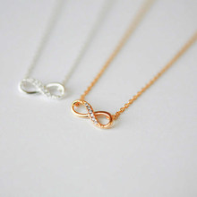 New Tiny Infinity Crystal Pendant Necklaces for Women Choker Lucky Number Eight Geometric Silver Long Chain Necklace(China)