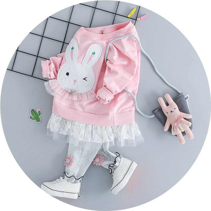 Autumn Baby Girl Clothes Set Children Cartoon Rabbit Round Neck Long Sleeve + Trousers Two Sets Of Cute Baby ClothesAutumn Baby Girl Clothes Set Children Cartoon Rabbit Round Neck Long Sleeve + Trousers Two Sets Of Cute Baby Clothes