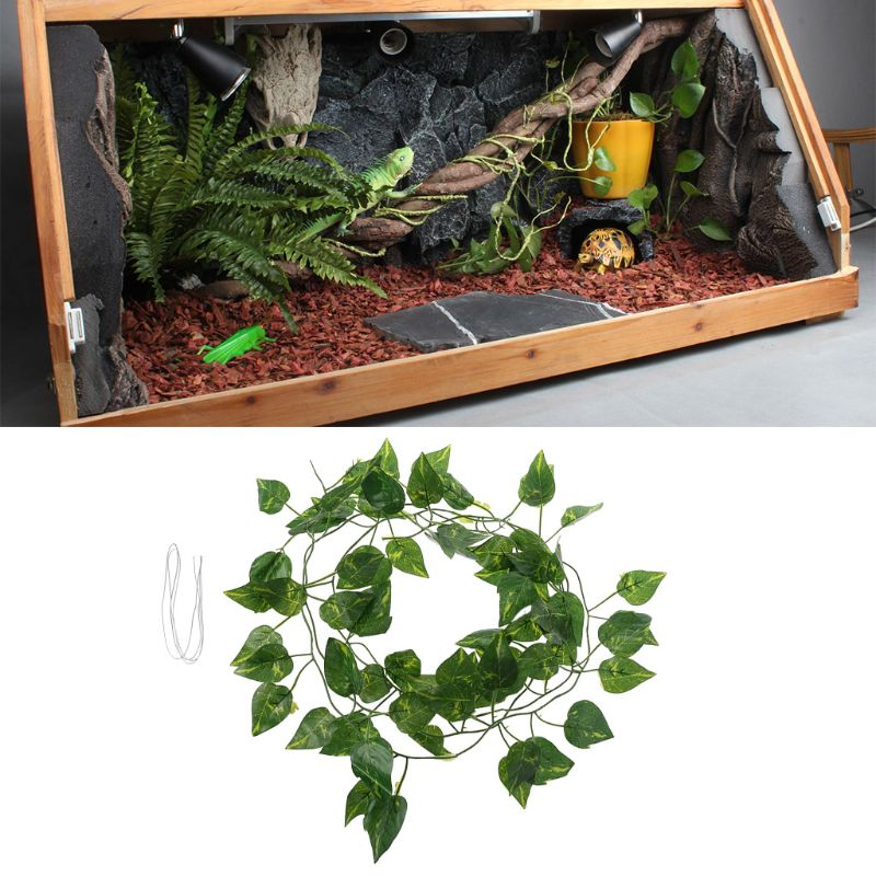2m Artificial Vine Scindapsus Leaves For Reptile Terrarium Box Habitat Landscaping Green Fake Plants Leaves Habitat Decor C42