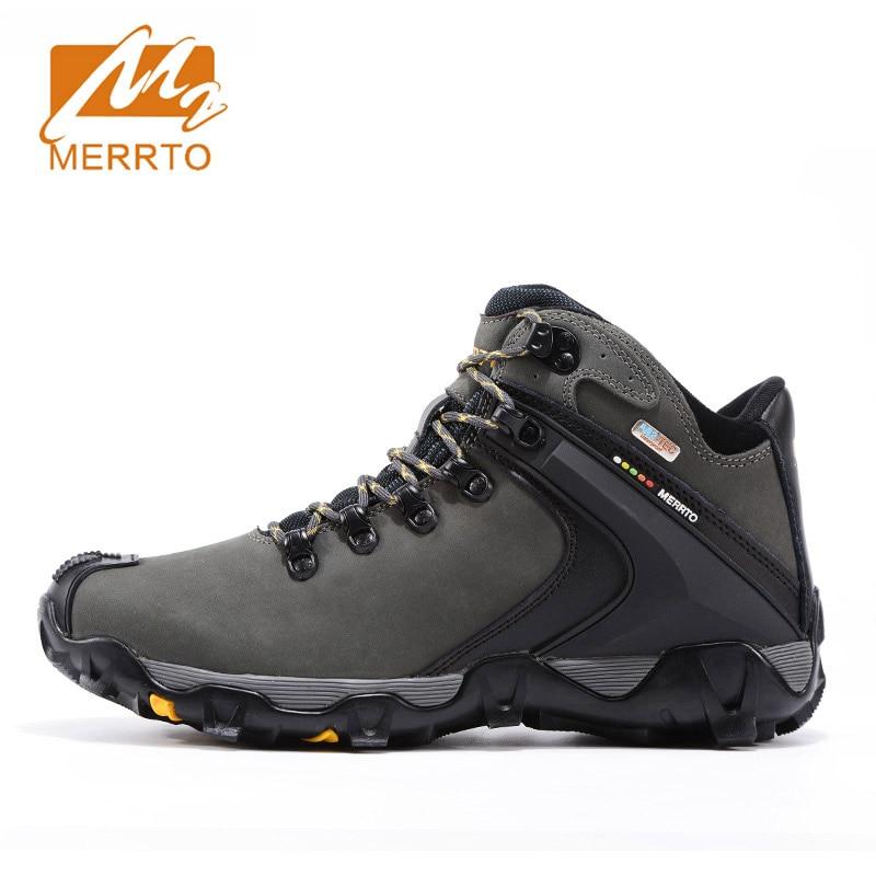 MERRTO Waterproof Hiking Shoes For Men Sneakers Men Hiking Waterproof Boots Trekking Outdoor Shoes Full-grain Leather Boots Man men winter boots plush warm hiking boots outdoor tactical trekking shoes men genuine leather waterproof ankle boots men sneakers