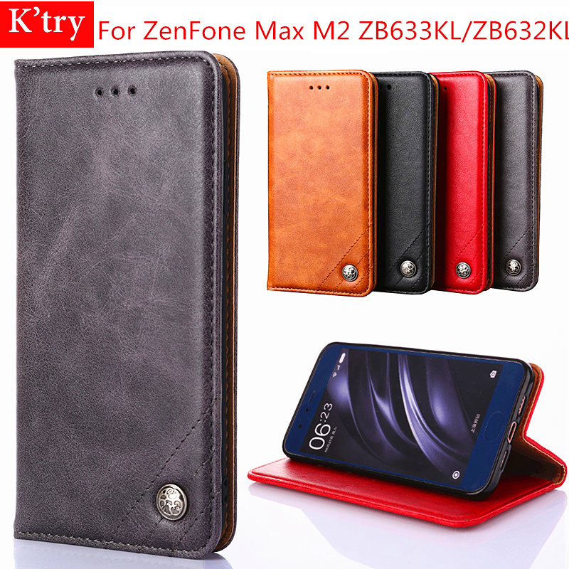For Asus Zenfone Max M2 ZB632KL Flip Cases For Asus Zenfone Max M2 ZB633KL Business Leather Soft Tpu Silicone Back Cover Coque
