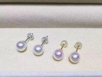 Для женщин подарок Слово 925 серебро натуральная Mikimoto качество натурального Akoya, япония морской жемчуг серьги гвоздики ASOS очень сильны,