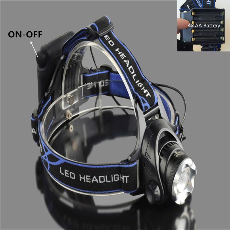 Zoom Head flashlight 3800Lm XM-L T6 LED Headlamp Headlight Rechargeable Head Lamp Torch by 4 AA battery Hunting Camping light