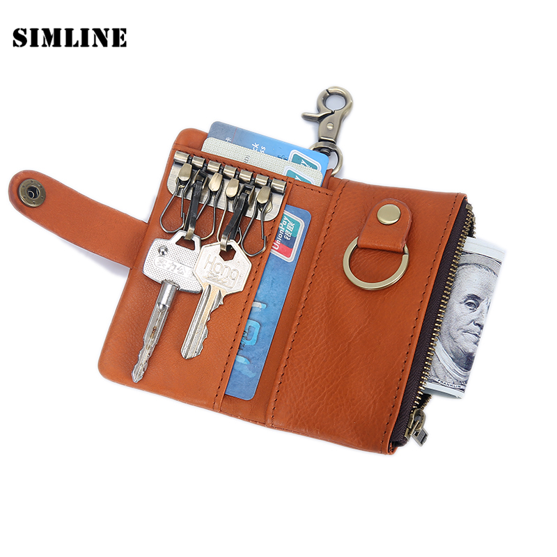SIMLINE Kulit Tulen Key Wallet Lelaki Multi Fungsi Car Key Dompet Coin Purse Card Holder Bag Case Housekeeper Key Organizer