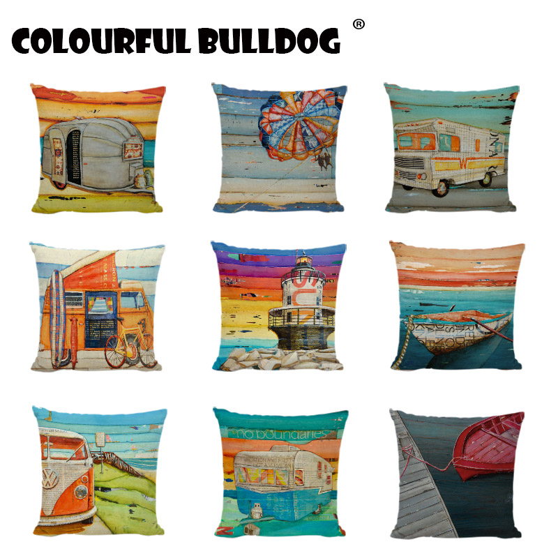 Colorful Cartoon Car Cushion Covers Coastal Landscape Parachute Home Decor Sofa Girls Beds Dorm Linen Cotton Throw Pillow Cases