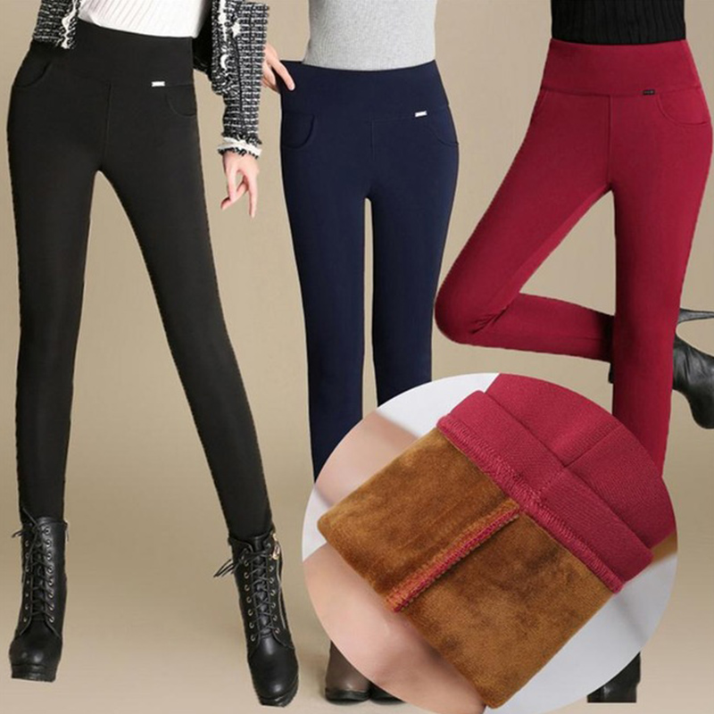 2019 Women High Waist Pencil Pants Fleece/No Fleece Warm Trousers Female Velvet Trousers Big Sizes White Black Stretch Leggings