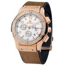 Reloj de cuarzo Hombres MEGIR Marca Hilo Mesa de Negocios Masculino de Cuero del Dial del Diamante Atmósfera de Lujo Del Reloj Del Negocio 2016
