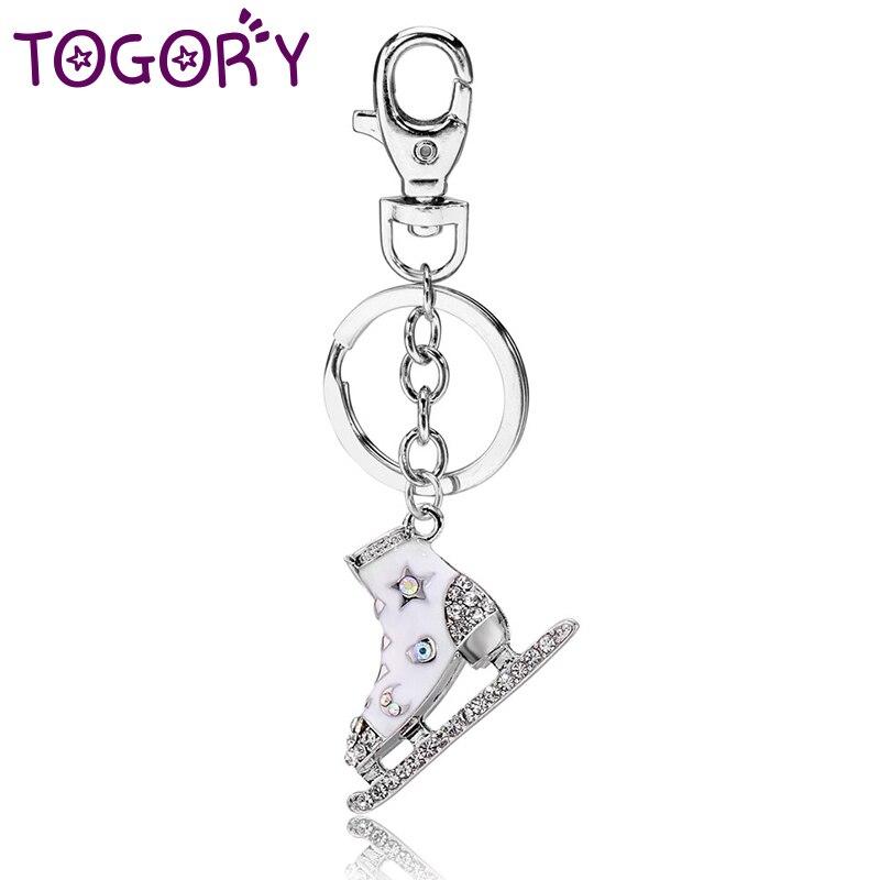 TOGORY Skate Shoes Key Chains Rings Holder Flower Star Crystal Rhinestone Purse Bag Buckle Pendant Keyrings KeyChains