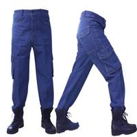Idopy Men`s Cargo Jeans Regular Fit Work Wear Multi Pockets Biker Motorcycle Durable Heavy Denim Pants Trousers For Male