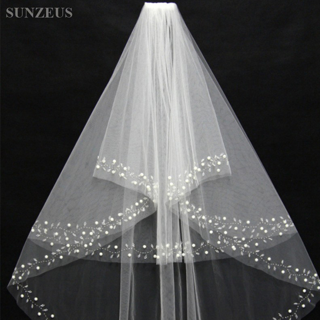 Short Wedding Veils Two Layers Sparkly Beaded Pearls Wedding Accessories Bridal Veil with Comb veu casamento noiva S164