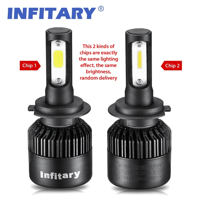 2Pcs Infitary Car Headllight H7 LED H4 LED Bulb H1 H3 H11 HB3 9005 9007 72W 8000LM 6500K Fog Light 12V/24V Auto Headlamp Lamps