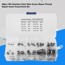 60Pcs/Lot Wire Insert Thread 304 Stainless Steel Screw Sleeve Repair Assortment Kit Multi Type