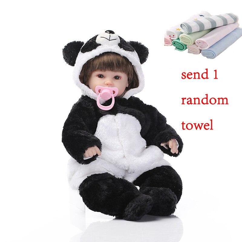 NPK 42 cm Reborn bébé poupées Silicone poupée Simulation bébé poupée Panda peut parler à la main Reborn bébé poupée jouets pour enfants