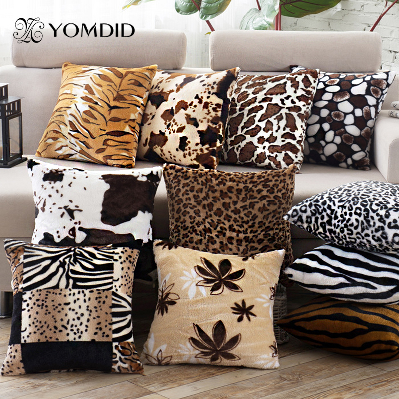 Pillow Case Covers Leopard Style Wild Velvet Material Covers for Cushions Home Decor Cojines Decorativos 43*43 cm